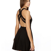 Darling Black Dress - Open Back Dress - Braided Dress - Swing Dress - $38.00