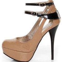 Qupid Neutral 173 Nude Two-Tone Patent Strappy Platform Pumps - &amp;#36;36.00