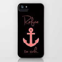 Refuse to Sink Anchor Peach Salmon iPhone Case by Rex Lambo | Society6