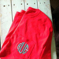 Monogrammed pocket tee t-shirt Long sleeve