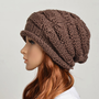 Wool handmade knitted crochet hat woman clothing - brown
