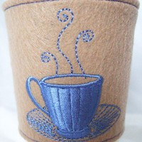 Cup Cozy Blue Coffee Cup and Saucer Cup Sleeve, Cosy on Tan Felt,