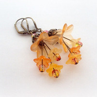 Pumpkin Orange Vintage Flowers Frosted Lucite by earringsAND
