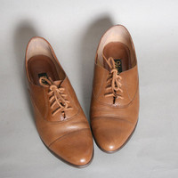1980s LEATHER OXFORDS / Caramel Brown Cap Toe Flats, 7.5