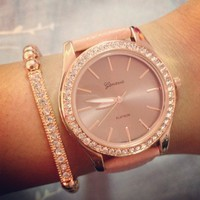 Rose Gold &amp; Rose Leather Strap Watch