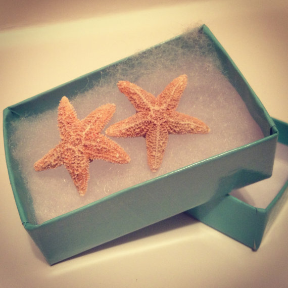 aquamarine real starfish earring by from byelizabethswan