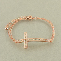 Rose Gold Rhinestone Cross Bracelet from Her Vanity Affair
