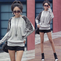 Womens Casual Leopard Batwing Crewneck Sweats Shirts Top