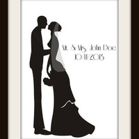 Silhouette Wedding Couple With Veil Cross Stitch Pattern | Los Angeles Needlework