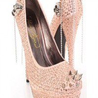 Blush Fabric Faceted Beaded Spike Studded Platform Heels