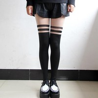 STRIPE SUSPENDER STOCKINGS from brave store