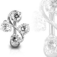 Surgical Steel Clear Elegant Four Gem Cz Vine Reverse Classic Belly Button Naval Ring 14 Gauge B210: Jewelry: Amazon.com