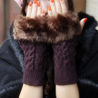 Sexy Angora Gloves&amp; bracelet &amp;Wristlet Gloves