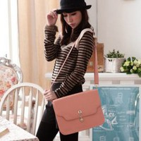 Wholesale Streetstyle messenger shoulder bag concise key turning button TW-2541PK - Lovely Fashion