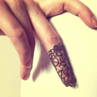 Retro Vintage Lace Knuckle Ring - Free Shipping - Made to order :)
