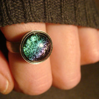 Antique Silver Dichroic Glass Ring  - Adjustable( 816)