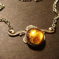 Victorian Style  Orange / Gold Dichroic Glass Necklace in Antique Silver  (814)