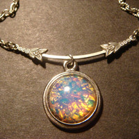 Victorian Style Fire Opal Necklace in Antique Silver (813)