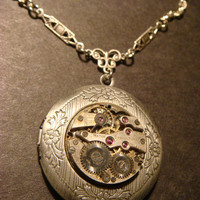 Steampunk Neo Victorian Watch Movement LOCKET Necklace  (811)