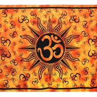 Om Sun Tie-Dye Tapestry - Hanging Wall Art - Perfect for Meditation and Yoga