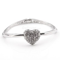 Fashion Adjustable Full Rhinestone Heart Bangle Bracelet at online fashion jewelry store Gofavor