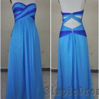 Real Beach Sweetheart Sleeveless Floor-length Chiffon Blue Long Prom/Evening/Party/Homecoming/Bridesmaid/Formal Dress 2013 New Arrival