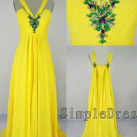 Real Beach V-neck Sweep train Chiffon Beading Yellow Prom/Evening/Party/Homecoming/Bridesmaid/Cocktail/Formal Dress 2013 New Arrival