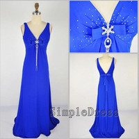 Real V-neck Sweep train Chiffon Beading Bowknot Blue Long Prom/Evening/Party/Homecoming/Bridesmaid/Cocktail/Formal Dress 2013 New Arrival