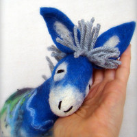Blue  Fillipe   Felt Donkey Art Marionette Puppet by TwoSadDonkeys