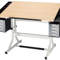 ALVIN® CraftMaster IITM Deluxe Art, Drawing, and Hobby Table White Base and Natrual Wood Top 28 x 4