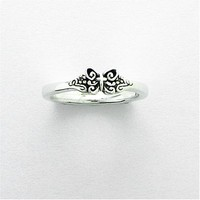 Bob Siemon Sterling Silver Butterfly Cross Ring