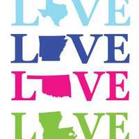 LOVE Your State Vinyl Sticker 4""