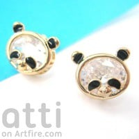 Small Panda Teddy Bear Animal Stud Earrings in Gold with Rhinestones