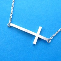 Simple Cross Shaped Bar Necklace in Sterling Silver from Dotoly Plus