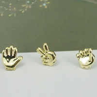 Cute Finger Guessing Game Shape Golden Earring(3 items) : Wholesaleclothing4u.com