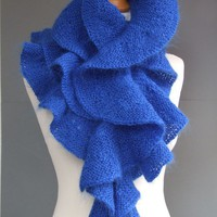 Blue scarf hand knitted of mohair yarn by CozySeason on Etsy