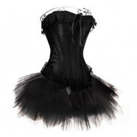 A3000+S013 - Black Corset Top with Tutu - Corset Outfits - Fashion