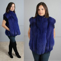 AMAZING PLUSH ROYAL BLUE PURPLE GENUINE FOX FUR VEST JACKET COAT S M L
