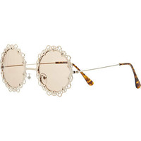 Gold tone metal filigree round sunglasses