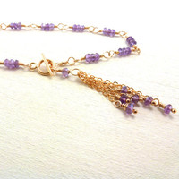 Amethyst Tassel Bracelet Wire Wrapped Handmade Gold Filled Purple Gemstone Jewelry