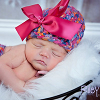 Newborn Beanie Hat with pink bow  PinkOrange by daisiescrochet