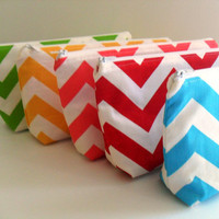 Chevron Fabric Bridesmaid Gift Makeup Bags / You Can Pick Fabrics/ Set of 4