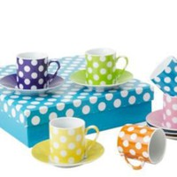 One Kings Lane - Tabletop Picks - Classic Coffee S/6 Dot Espresso Set