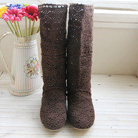 Woman lace casual long boots shoes spring summer brown