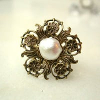Fresh Water Pearl  Victorian Brass Ring by LeBoudoirNoir on Etsy