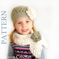2 Patterns PDF Crochet Hat Scarf set From by daisiescrochet