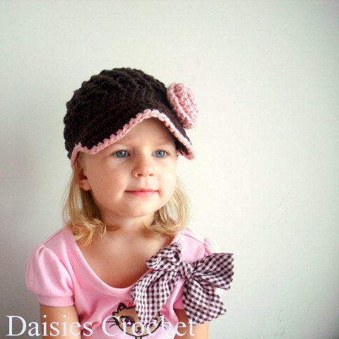 Newborn infant Toddler Girl Visor Beanie Hat by daisiescrochet