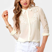 Embroider-ly Love Cream Lace Top