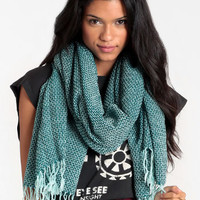 Evergreen Fringed Scarf - $18.00 : ThreadSence, Women&#x27;s Indie &amp; Bohemian Clothing, Dresses, &amp; Accessories