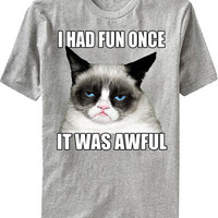 GRUMPY CAT MENS TEE I had fun once It was awful T-shirt Tshirts NEW